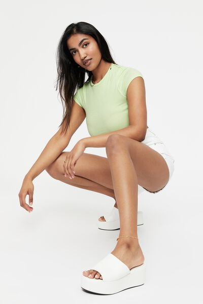 Alissa Fitted Crew Top, SOFT LIME
