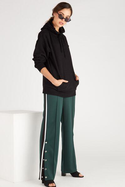 Side Stripe Wide Leg Trackpant, DEEP GREEN