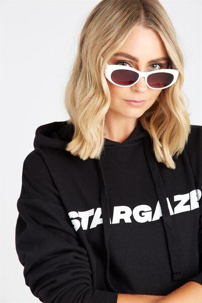 Veronica Ovals Sunglasses, WHITE