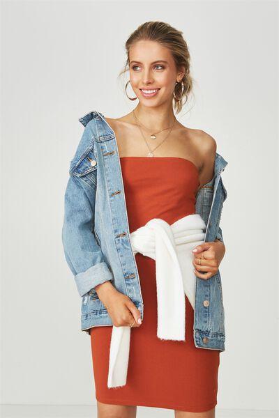 Basic Long Boobtube Dress, CINNAMON