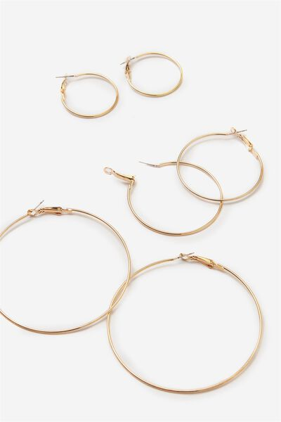 Trio Hoop Earring Pack, GOLD