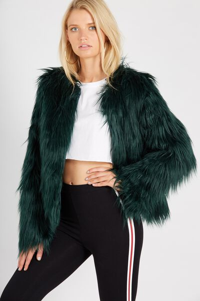 Faux Fur Chubi Jacket, EMERALD GREEN