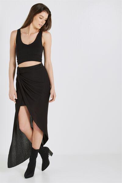 Knot Twist Wrap Skirt, TRUE BLACK