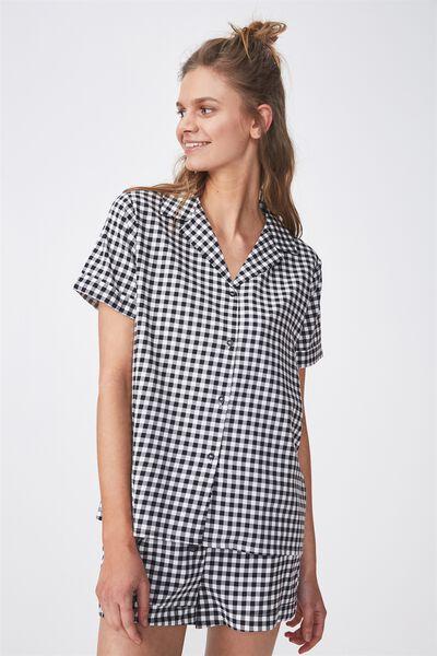 Cotton Sleep Shirt, BLACK/GINGHAM