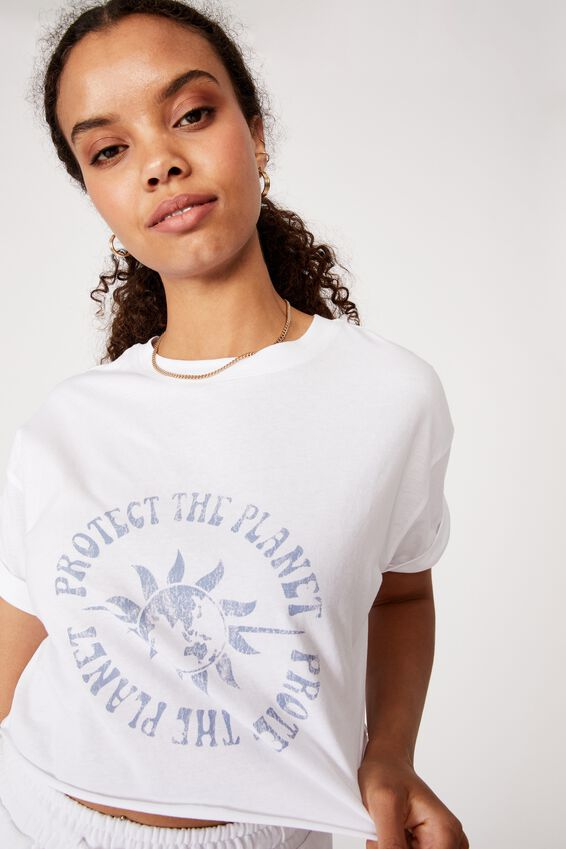Protect the Planet Crop Tee, WHITE/PROTECT THE PLANET