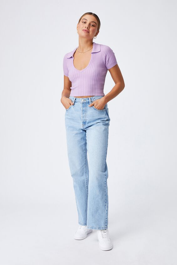 Harlow Polo Knit Top, SWEET LILAC