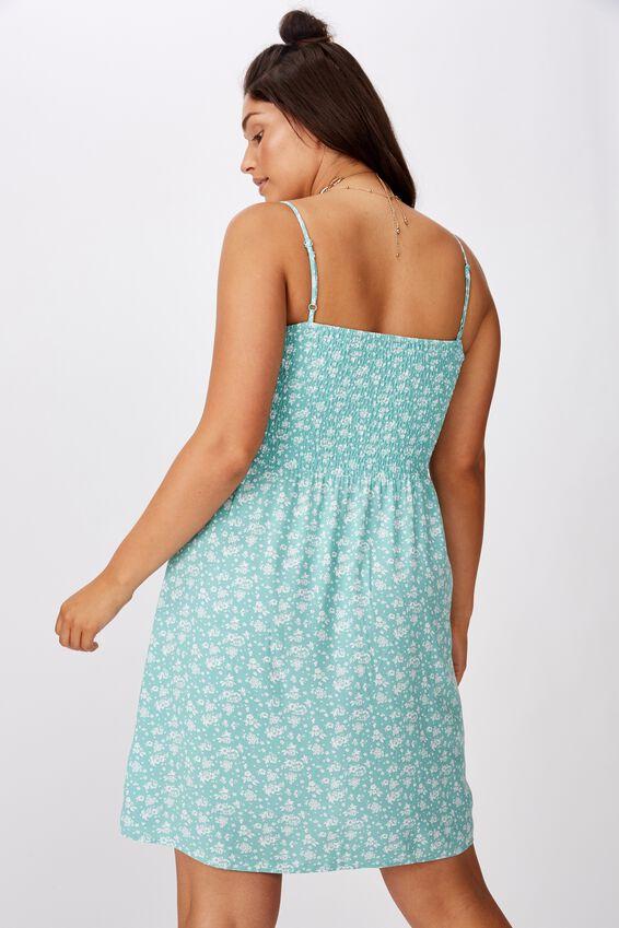 Peaches Shirred Dress, MONO WALL PAPER SAGE