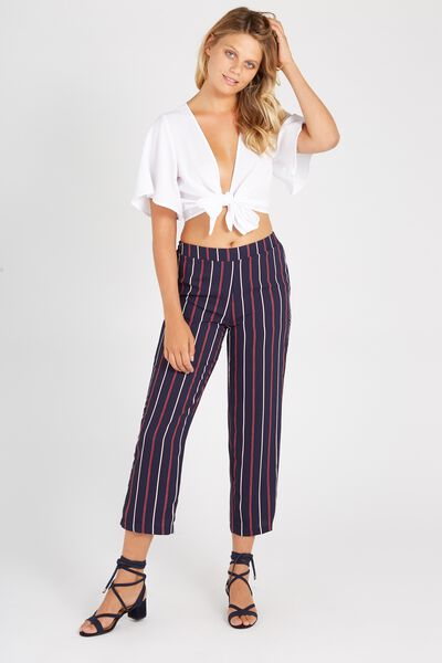 Straight Leg Pant, RED BLUE STRIPE
