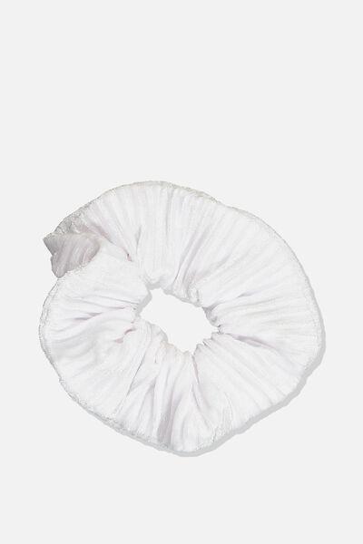 Pleated Plush Scrunchie, WHITE