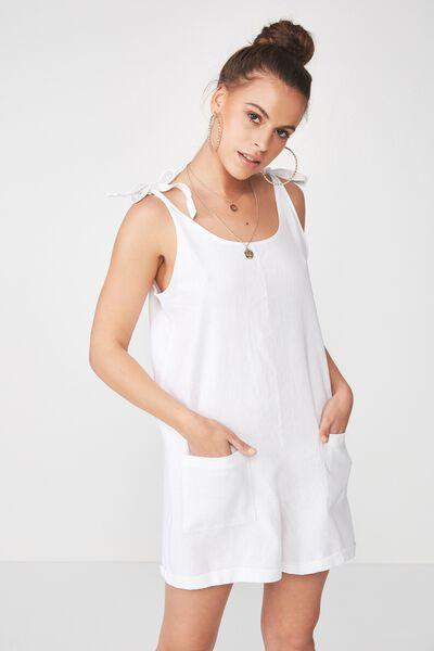 Lexi Tie Shoulder Linen Blend Playsuit, WHITE