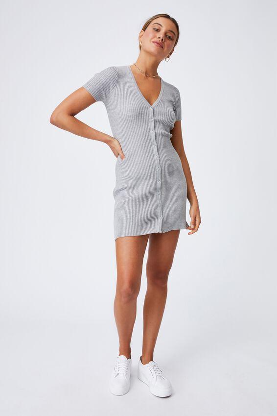 Corinne Buttoned Mini Dress, GREY MARLE
