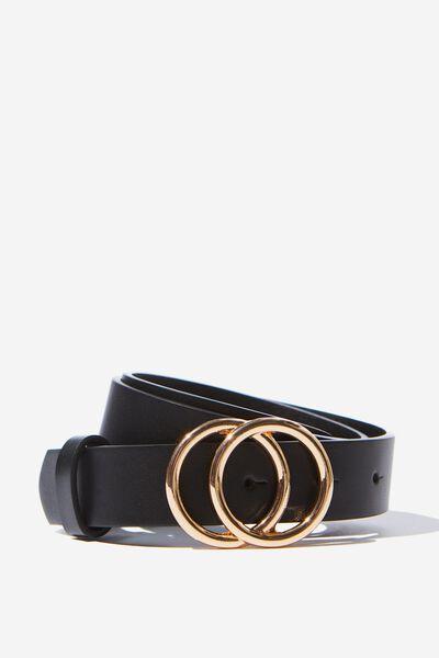 Double Gold Hoop Belt, BLACK/ GOLD