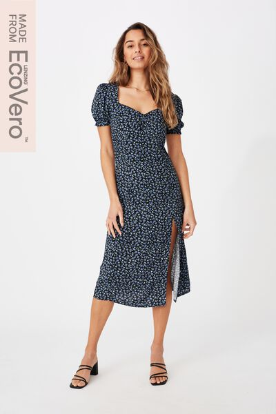 Zendaya Peasant Sleeve Midi Dress, RACHEL ROSE BLUE