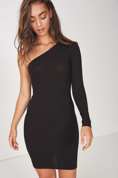 One Shoulder Rib Dress, BLACK