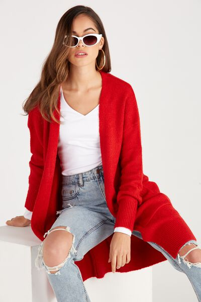 Cosy Longline Knit Cardi, RED