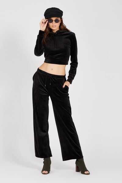 Wide Leg Velour Track Pant, BLACK