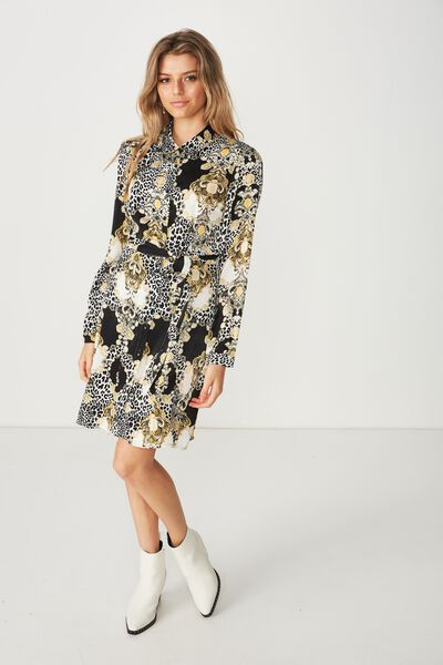 Paris Satin Shirt Dress, ITALIAN LEOPARD