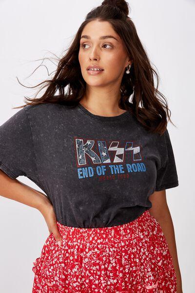 Kendall Printed T Shirt, WASHED BLACK KISS TOUR
