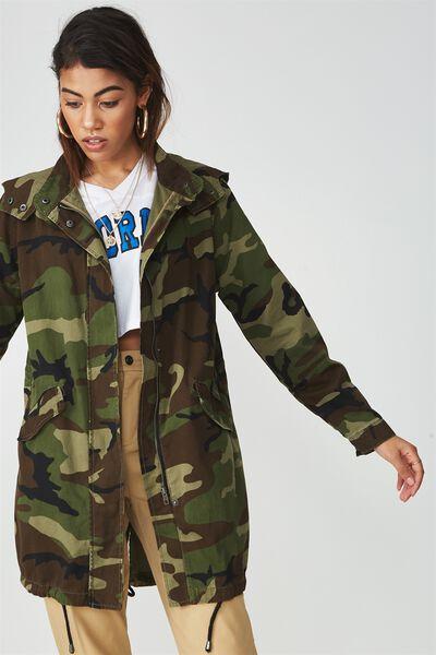 Camo Longline Anorak Jacket, CAMO