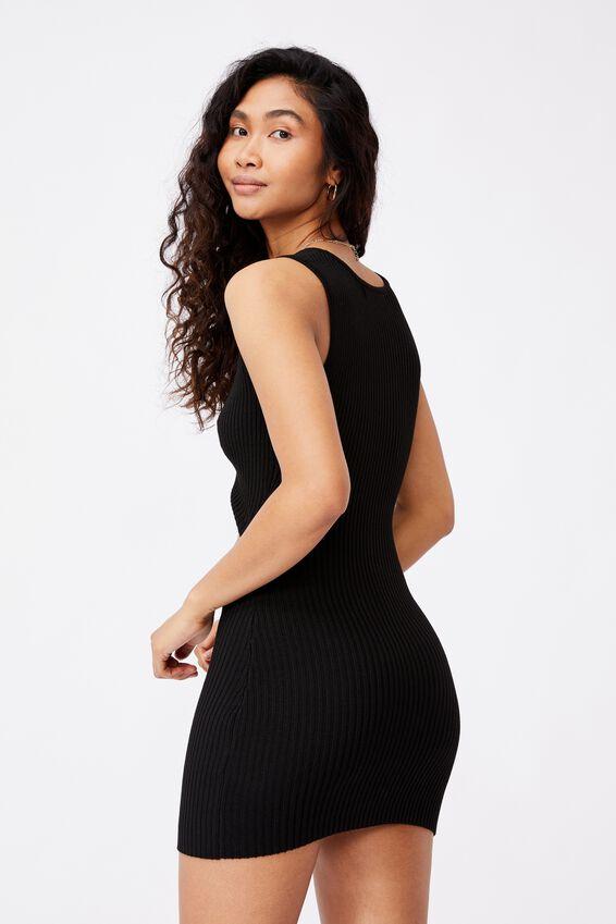 Pearl Reversible Mini Dress, BLACK
