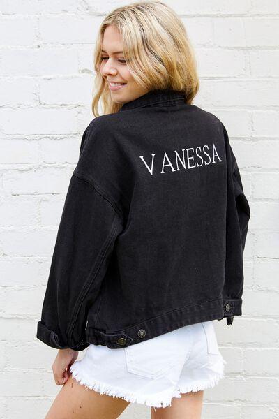 Customised 80S Denim Jacket, WASHED BLACK
