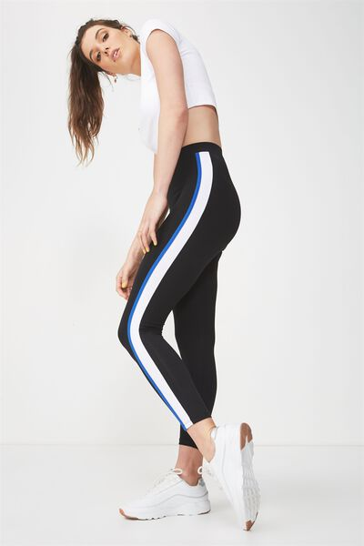 2 Colour Side Stripe Legging, BLACK/BLUE
