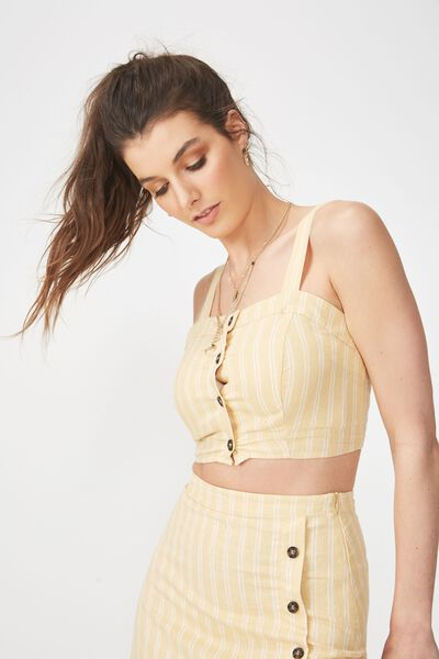 Button Through Linen Blend Crop Top, HONEY STRIPE