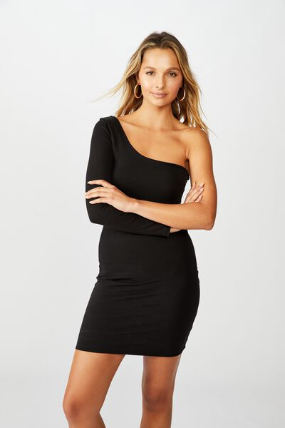 Madison One Shoulder Long Sleeve Dress, BLACK