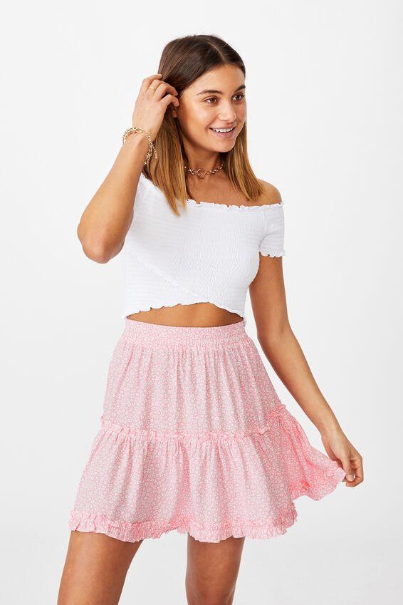 Maisie Tiered Skirt, CORA MONO FLORAL PINK