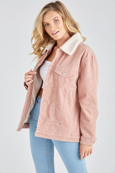 Cord Faux Sherpa Jacket, BLUSH