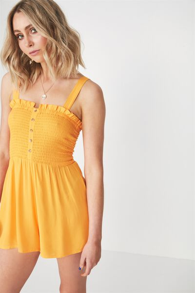 Hazel Shirred Button Front Playsuit, MANGO
