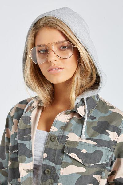 Clear Lens Fashion Aviator Sunglasses, CLEAR/GOLD