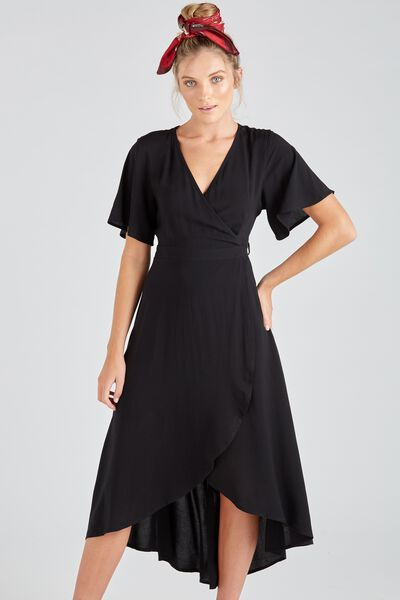 Whitney Wrap Maxi Dress, BLACK