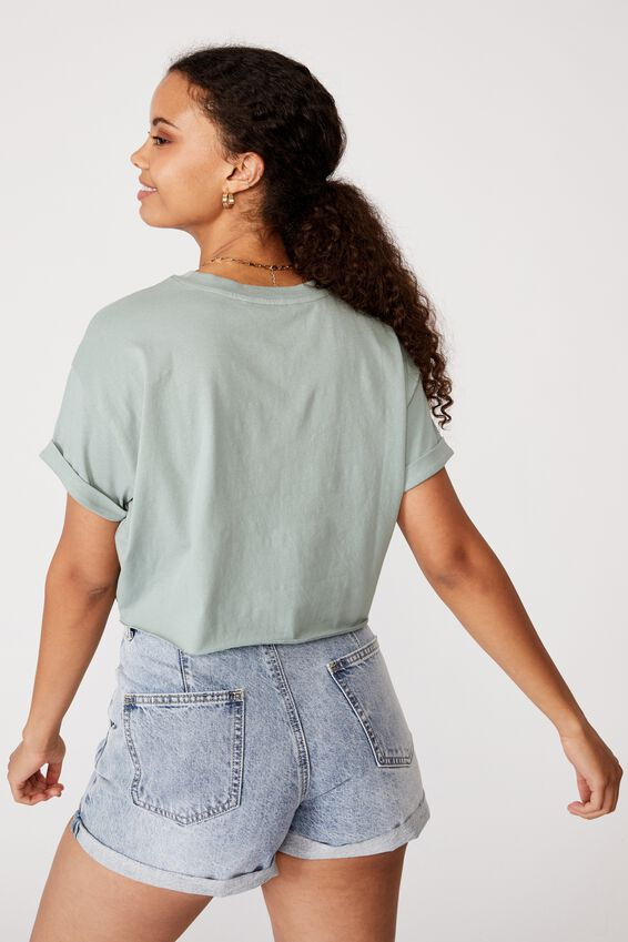 Save the Turtles Crop Tee, SOFT MOSS/SAVE THE TURTLES