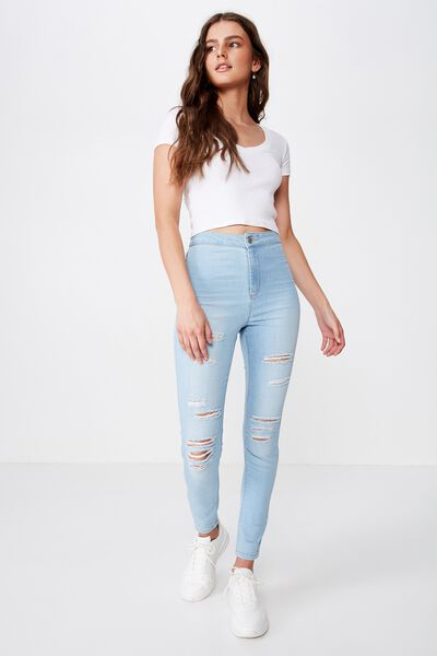 Super Skinny Sky High Ripped Jean, BABY BLUE