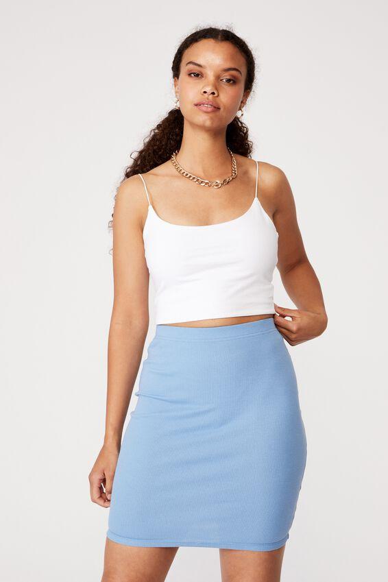 Kennedy Rib Mini Skirt, CAROLINA BLUE