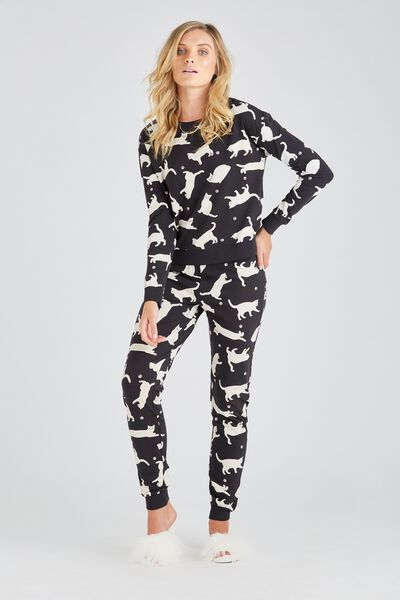 Printed Sleep Pant, BLACK CATS