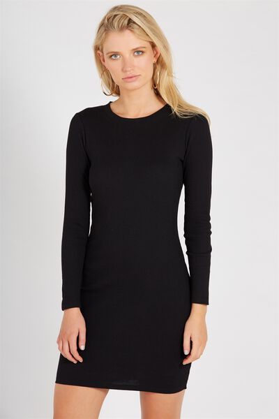 Longsleeve Rib Bodycon Dress, BLACK