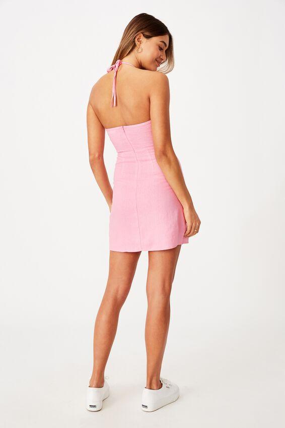 Lana Halter Neck Slip Dress, TAFFY PINK