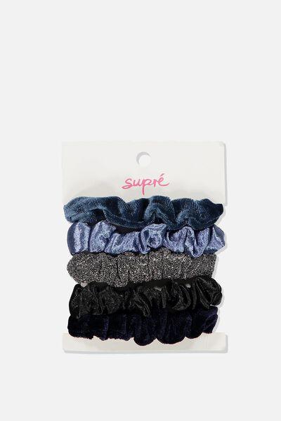 Hair Tie Scrunchie Pack, BLUE