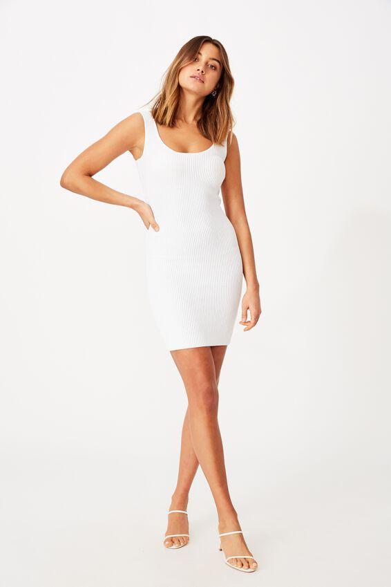 Maggie Square Neck Knit Dress, WHITE