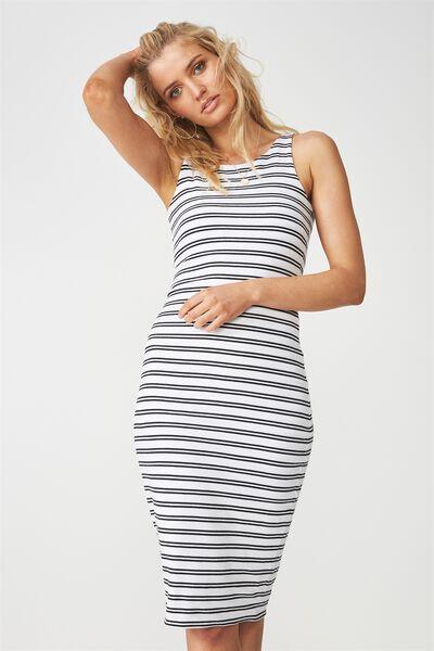 Sleeveless Midi Dress, STRIPE
