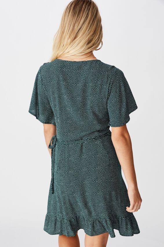 Emily Wrap Dress, RICE SPOT GREEN