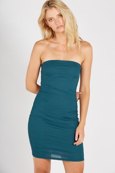 Party Strapless Ribbed Dress, GREEN