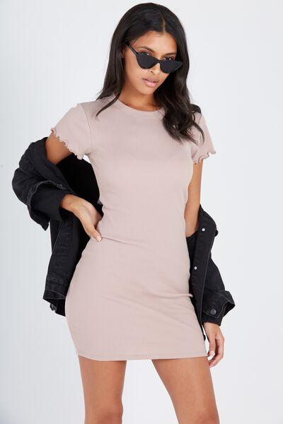 Rib Bodycon T-Shirt Dress, STONE