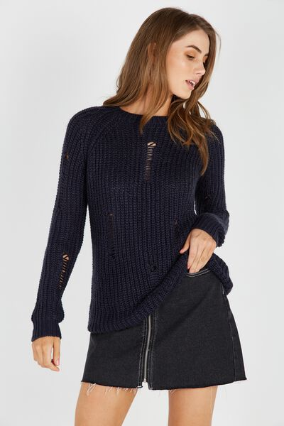 Longline Distressed Knit Top, NAVY