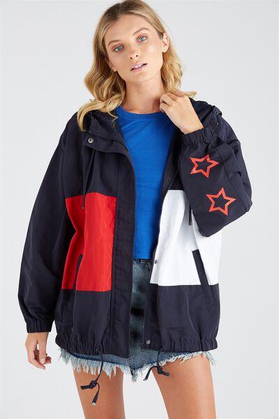 Oversized Sport Jacket, RED/NAVY/WHITE