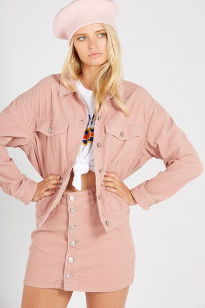 Slouch Cord Jacket, BLUSH