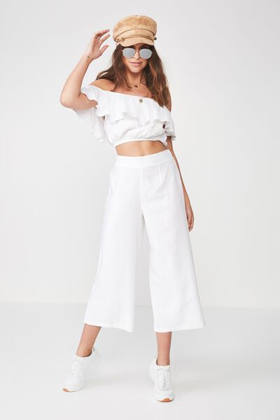 Crop Wide Leg Linen Blend Pant, WHITE
