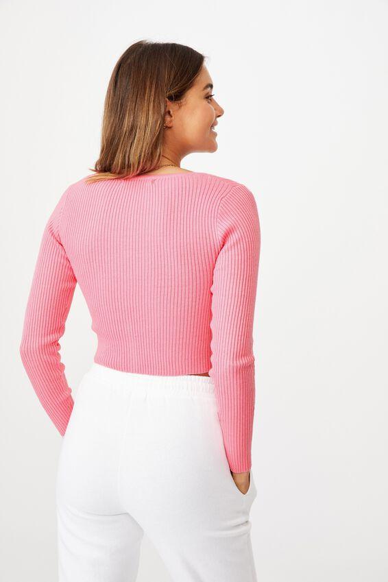 Olive Long Sleeve V Neck Cardi Knit, PUNCH PINK